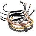 Men Bracelets,Gold Plated 1pcs Beads 8mm Micro Pave Black CZ Beads Briading Macrame Bracelet Pulseira Feminina