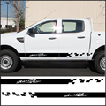 free shipping 2 PC racing Gradient side stripe graphic Vinyl sticker for  Ford ranger 2012 2013 2014 2015 2016 sticker