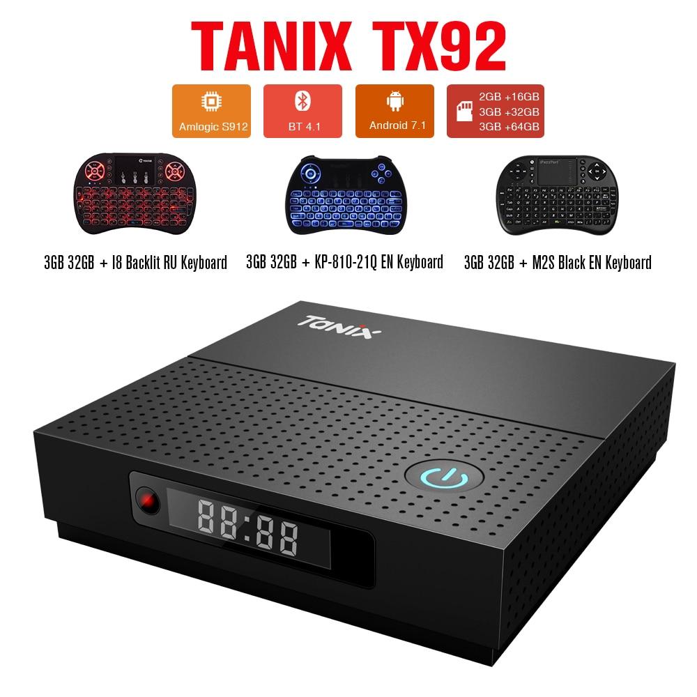 Tanix TX92 TV Box Amlogic S912 Octa-core CPU Android 7.1 OS Bluetooth 4.1 1000M LAN 2GB 3GB 32GB 64GB Set Top Box Media Player