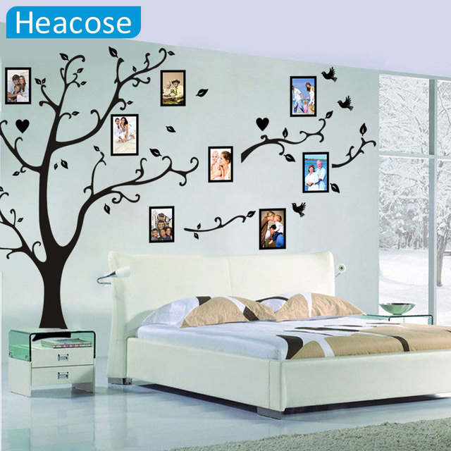 large 200*260cm colorful 3d diy photo tree pvc wall decals/adhesive