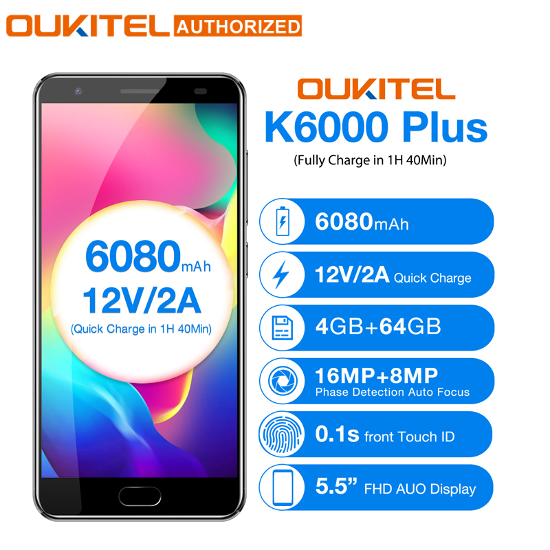 OUKITEL K6000 Plus Android 7.0 Téléphone Mobile 5.5 ''MTK6750T Octa Core 4 gb 64 gb 8MP + 16MP 6080mAh12V /2A Charge Rapide Téléphone Portable