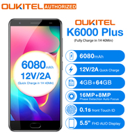 OUKITEL K6000 плюс Android 7,0 мобильный телефон 5,5 ''MTK6750T Octa Core 4 ГБ 64 ГБ 8MP + 16MP 6080mAh12V /2A Quick Charge телефона