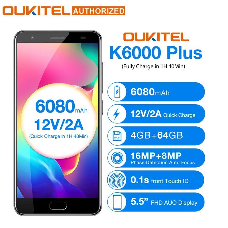OUKITEL K6000 más Android 7,0 teléfono móvil 5,5 ''MTK6750T Octa Core 4 GB 64 GB 8MP + 16MP 6080mAh12V /2A carga rápida celular