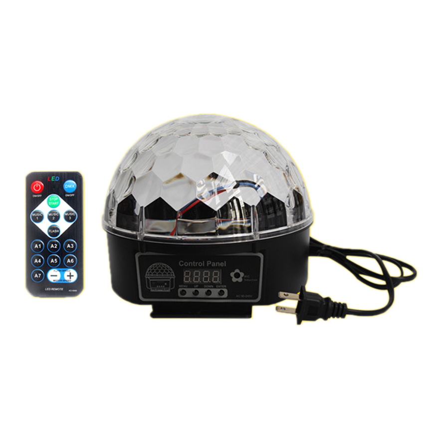 Mini Crystal Magic Ball Led Stage Lamp Sound Control Modes 9 Colors Stage Lighting Disco Laser Light Party Lights Lumiere Laser niugul crystal magic ball led stage lamp 8 modes disco laser light sound auto control christmas laser projector ktv party lights