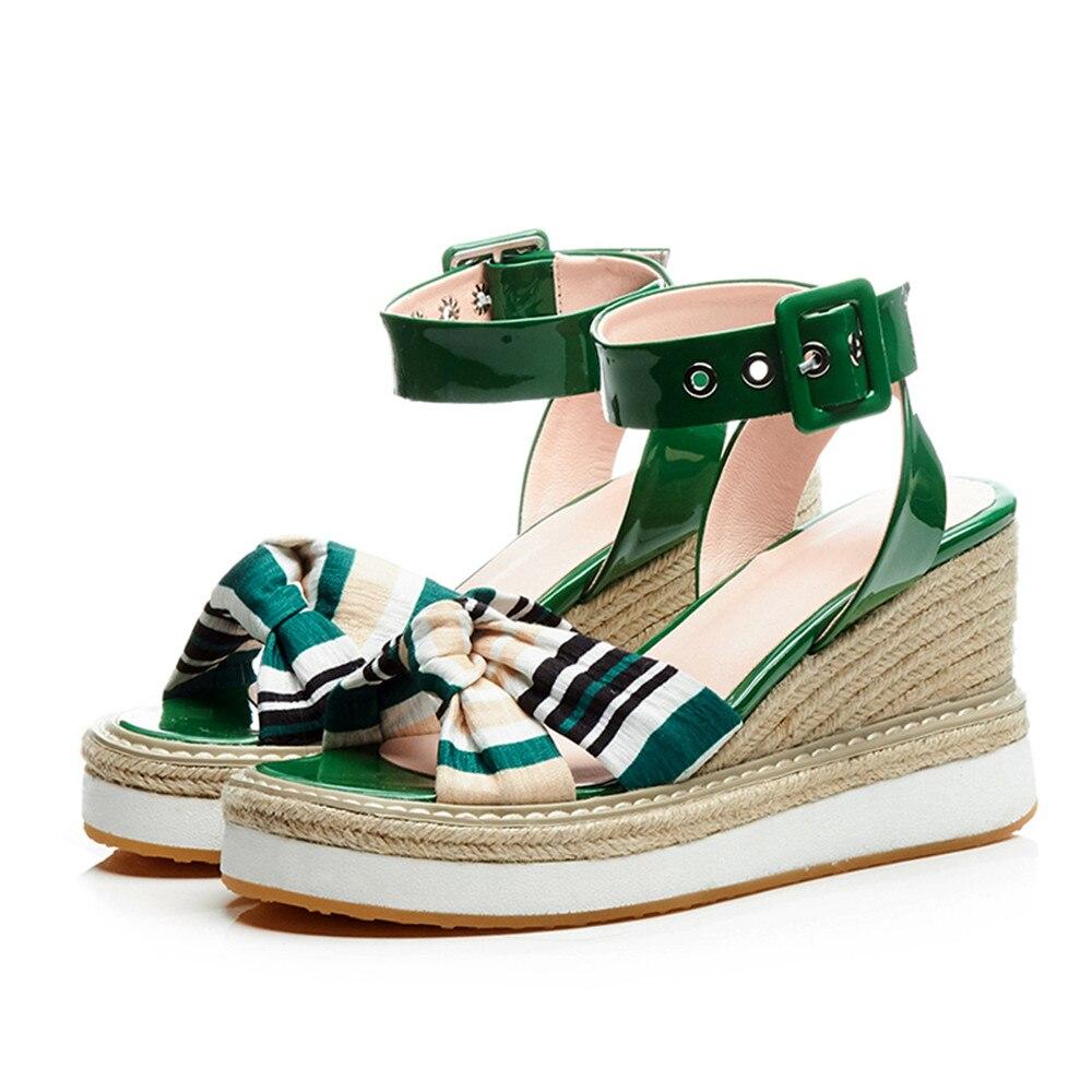 De Asumer Genuino Cuero Plataforma Zapatos Bohemia Negro Moda Elegantes verde Hebilla rojo Mujer Cuñas Sandalias Verano 2018 r7qSnOWHrP