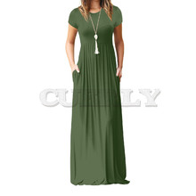 Summer Maxi Long Dress Women Femme Boho Long Dresses Plus Size Casual Pockets New Short Sleeve O-neck Solid Dress S-2XL GV598 stylish scoop neck short sleeve spliced stripes women s maxi dress