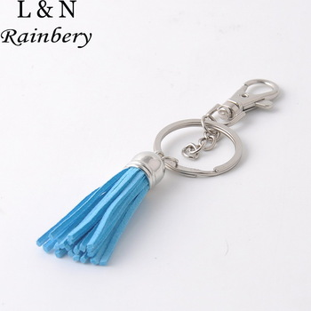 Rainbery 2016 Silver plated cap Tassel Keychain,Handmade Super Cute Leather Tassel Key Chain,Fashion Keychain Bag Charms Pendant