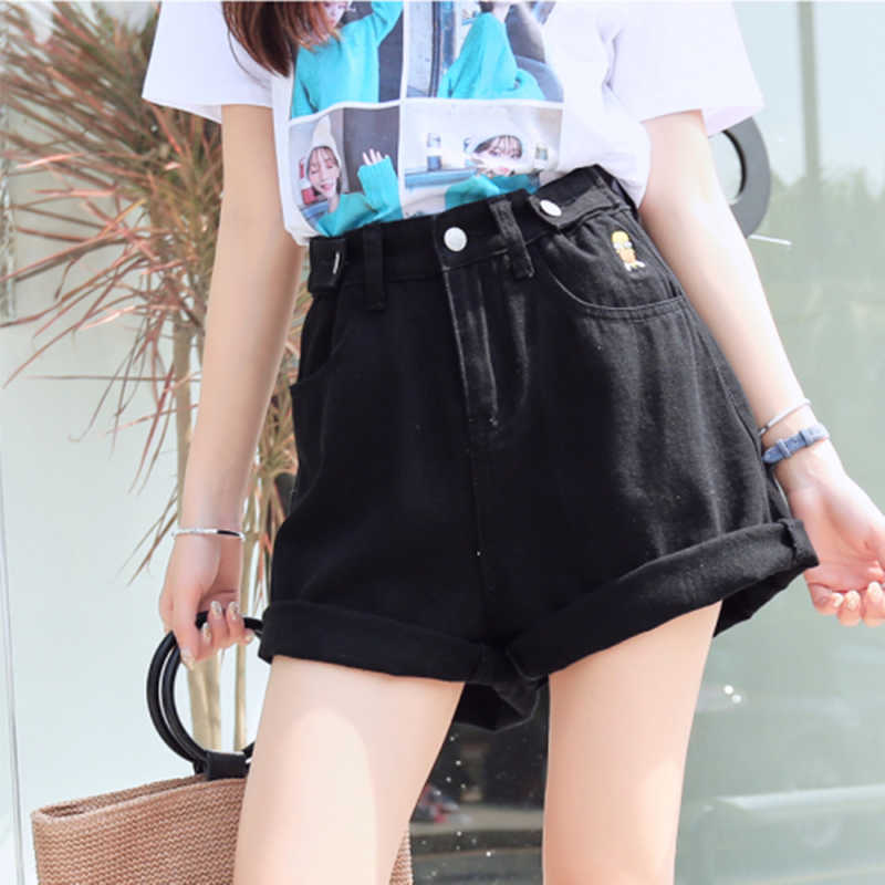 RUGOD  2019 Summer Women Fashion Solid Cowboy Shorts Casual Lady  Loose Style Slim Korea Style Casual Lady Button  Fiy