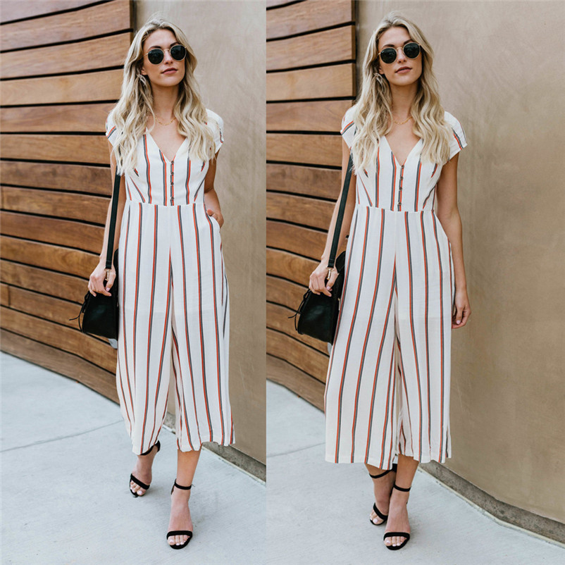 b2cc241cf00d Sexy Backless Striped Jumpsuit Women Halter Hollow Out Wide Leg Pants  Rompers Fashion Female Casual Sleeveless Jumpsuits JP48 – Thanks Australia