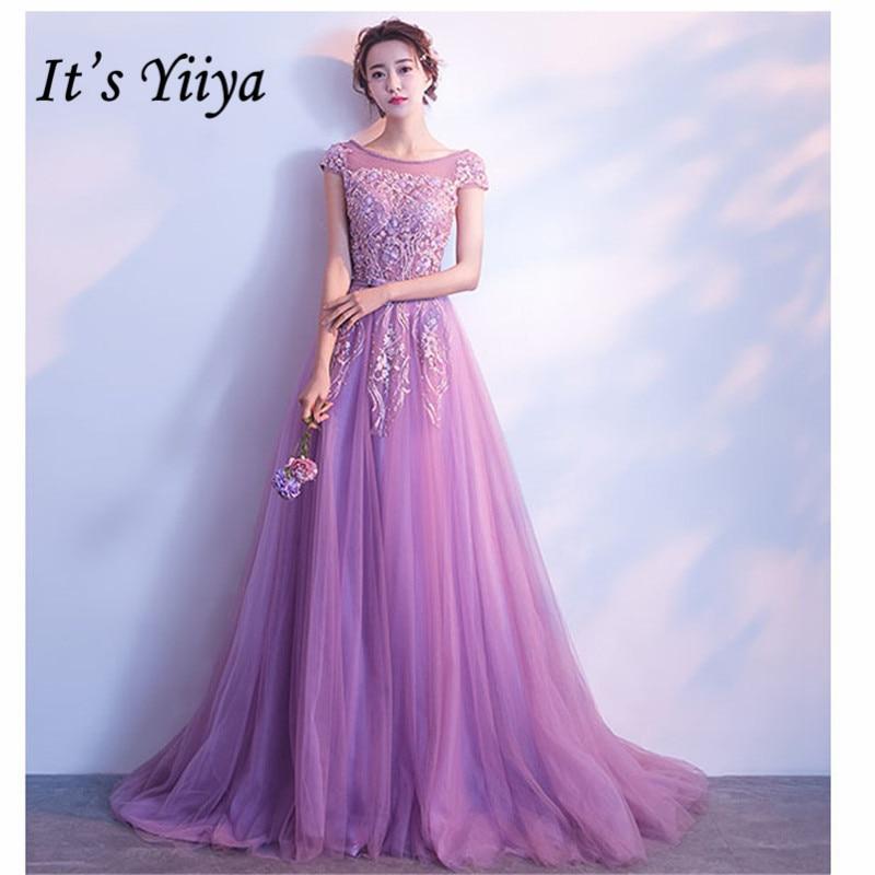 It's YiiYa Women Party Dress 2019 Appliques Beading O-neck Floor Length Court Train Evening Dress Robe De Soiree Plus Size E497