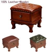 Новые роскошные 100% кожа ящик из массивной древесины диван стул европейская мебель для гостиной табурет Американский низкий табурет с кабин