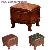 New Luxury 100% leather solid wood drawer sofa stool European living room furniture shoe stool American low stool with cabinet
