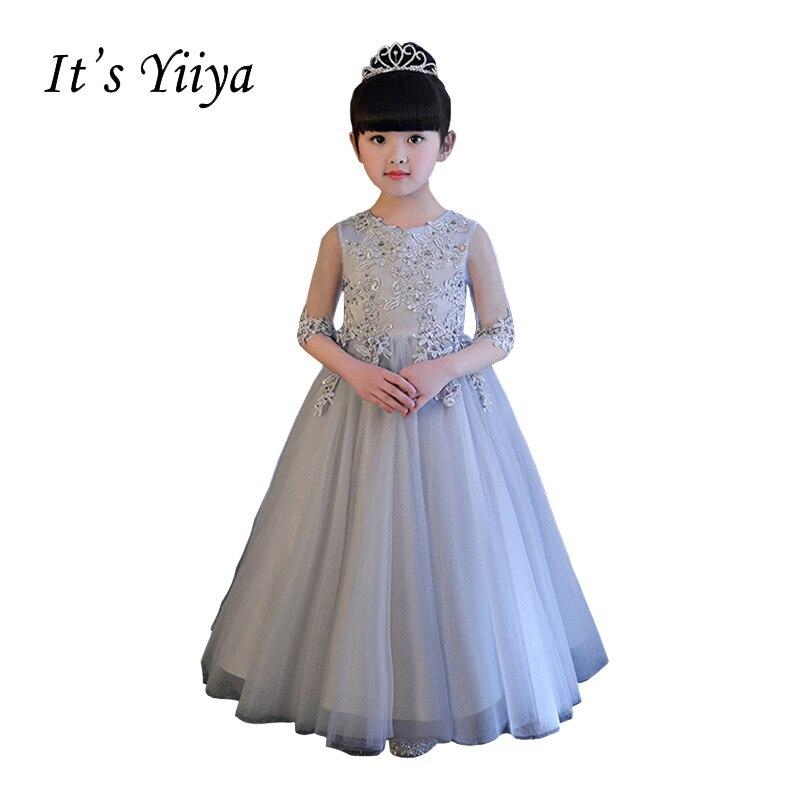 It\'s YiiYa Gray Half Sleeves Chiffon Illusion Flowers Floor Length ...