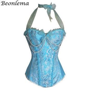 ae2d9418af92e5f Beonlema Kawaii Кружевное Бюстье с ремешками и корсетом для женщин,  голубой, розовый, милый корсет с бантами, дамские сексуальные костюмы