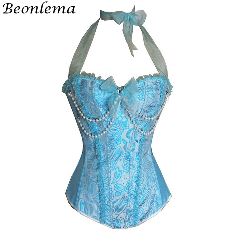 Beonlema Kawaii Lace Strap   Bustier   and   Corset   Women Blue Pink Sweet Bow   Corset   Ladies Overbust Bayan Korse Sexy Costumes