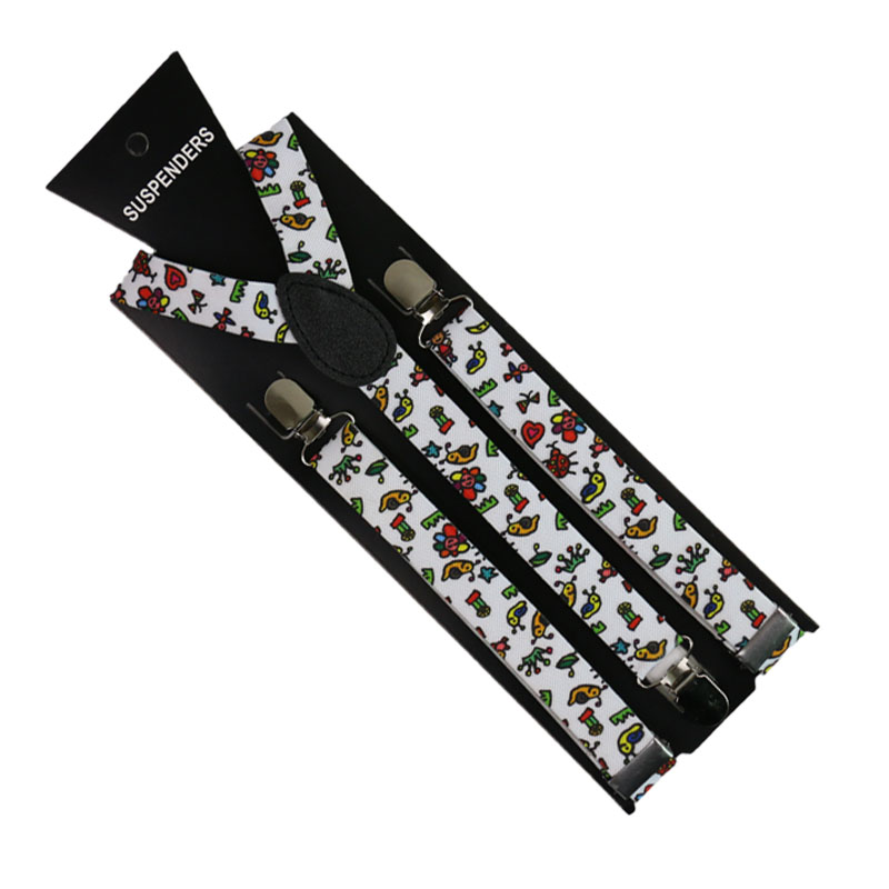 Winfox Fashion 2.5cm Wide Insect Snails Print Suspenders Women Men Adjustable Suspender Strap Pants