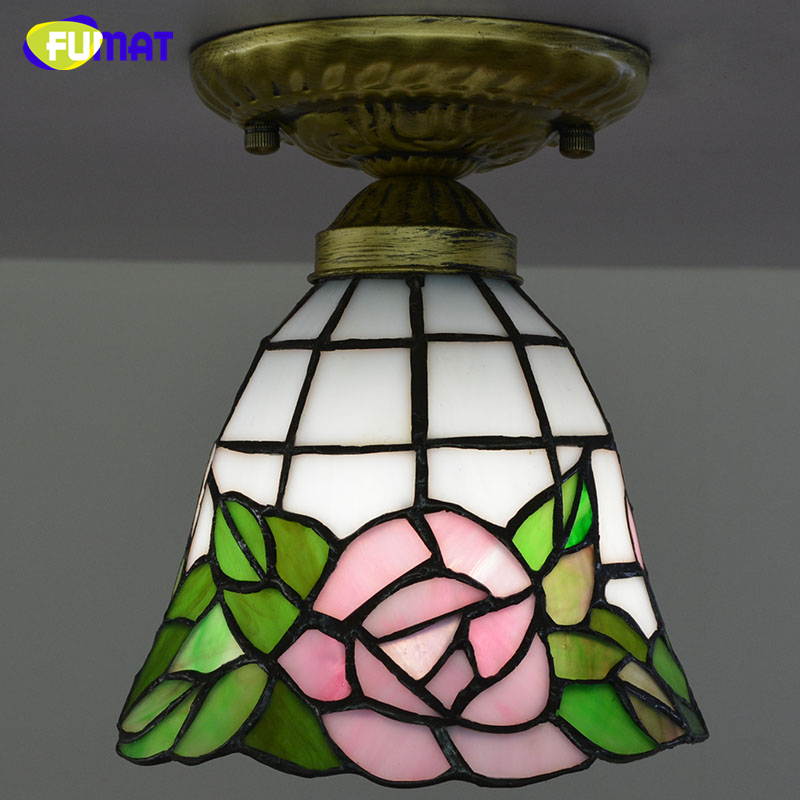 FUMAT Mosaic Ceiling Lamp European Vintage Corridor Stained Glass Indoor Light Fixtures For Front porch Aisle LED Ceiling Lights