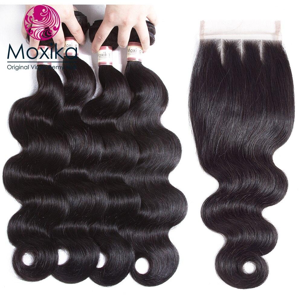 Moxika Cheveux Malaisiens 3/4 faisceaux avec fermeture 4/5 pcs/lot Remy 100% corps vague de cheveux humains tisse avec fermeture avec Bébé Cheveux