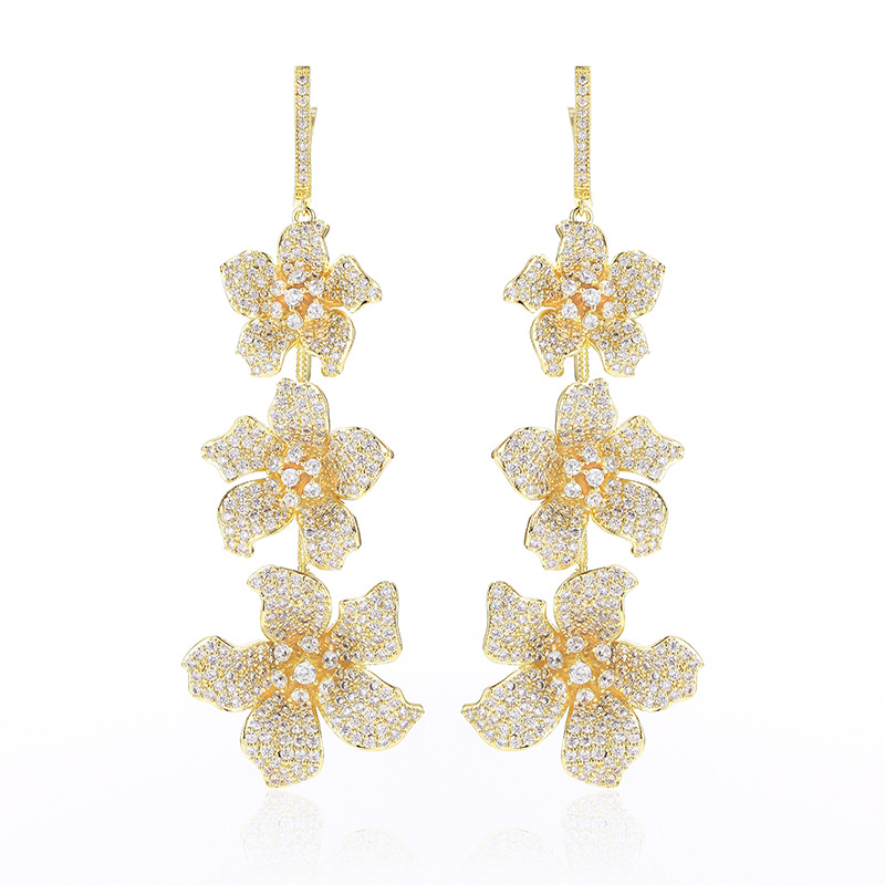 XIUMEIYIZU 81mm Long Gold Color Delicate Jewelry Full Micro Pave Cubic Zircon Beautiful Flower Earrings For Ladies