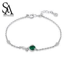 SA SILVERAGE Night Elf S925 Sterling Silver Bracelet Female Korean Simple Style Chain Link Bracelets Feminina Bangles for Women цена