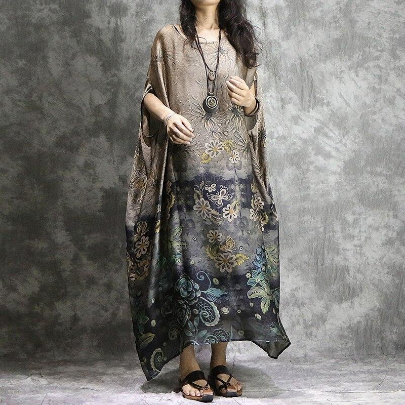 Johnature Women Chiffon Silk Dresses Print Floral Summer Dress 2020 New Vintage High Quality Bat Sleeve Plus Size Women Clothing(China)