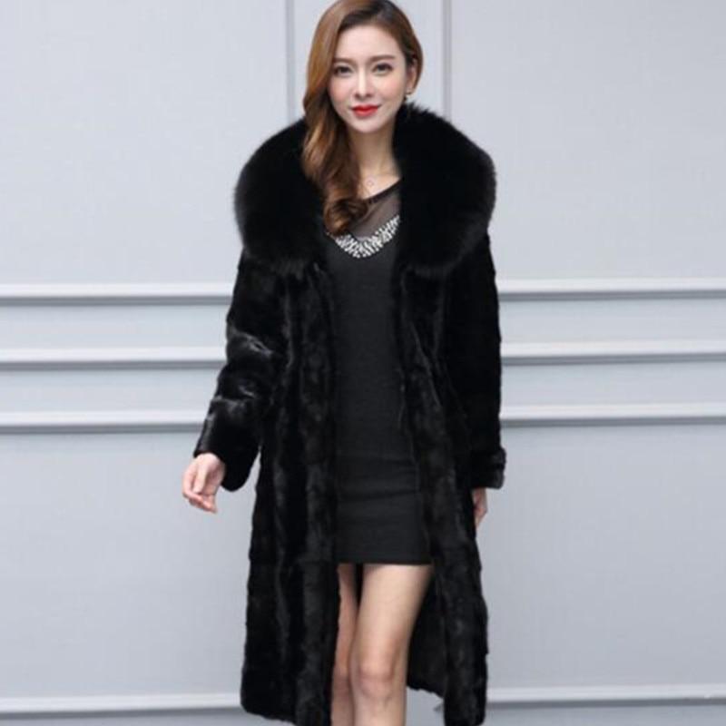 Qualité Col Femmes Imitation Loutre Black Taille Long Renard Grande Haute 5xl 219 Épais Fourrure 6xl2018 Manteaux Manteau Hiver De FwX6PxIq