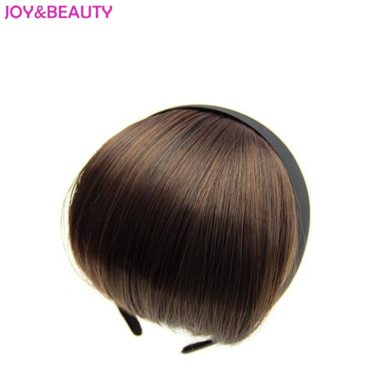 ALEGRÍA Y BELLEZA Pelo sintético resistente al calor Corto Blunt Bangs Mujeres diadema Bang Hair 12cm largo 5Color disponible