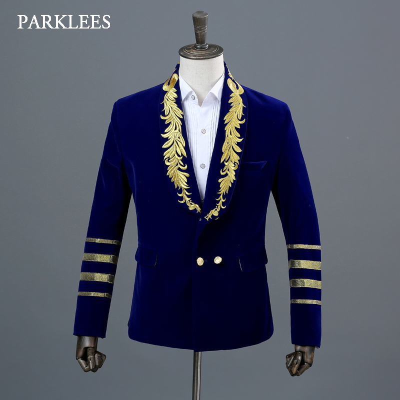 England Style Gold Embroidery Blazer Men Royal Blue Shawl Collar Mens Velveteen Suits Stage Prom Show Button Jacket Homme Hombre