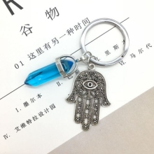 1 PC Fashion Crystal Pendant Keychain Natural Blue crystal Evil Eye Fatima Pink Key Chains Accessorie Jewelry Gift
