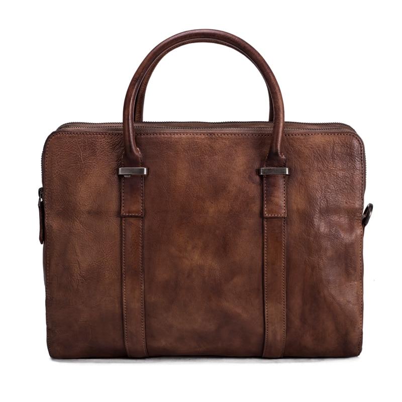 ROCKCOW Men Business Genuine Leather Briefcase Messenger Bag font b Laptop b font Shoulder Bag For
