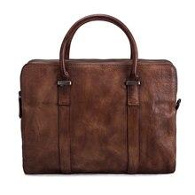 ROCKCOW Men Business Genuine Leather Briefcase, Messenger Bag, Laptop Shoulder Bag For Men 9043