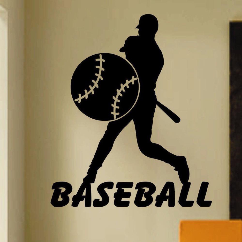 etiqueta de la pared letras gorra de bisbol de bisbol deporte palabras de bisbol mujer reproductor