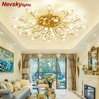 Modern ceiling light dining LED Crystal ceiling lamp crystal lamps for living room loft AC110 240V DIY Crystal lighting avize