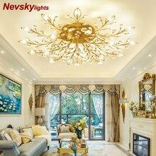 Модный потолочный светильник в гостиную фантазийный светильник в проходжей Хрустальная люстра потолочная в спальню led лампы для спальни AC110-240V DIY кристалл лампа для интерьера дома декор золотая листья в детсткую