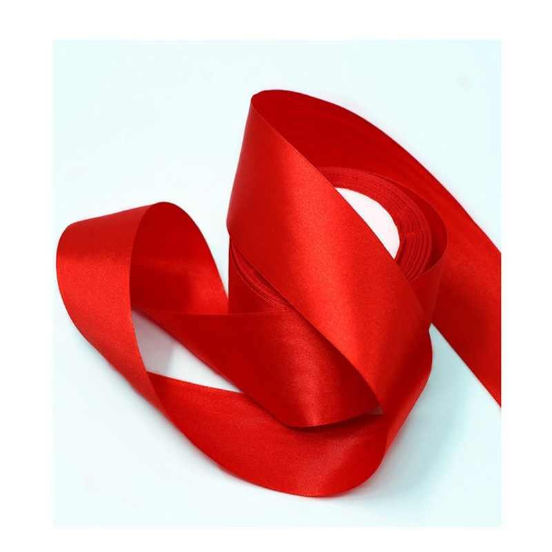 25 หลา/ม้วนสีแดงผ้าไหมซาตินริบบิ้นโบว์ตกแต่งงานแต่งงาน DIY ผ้าริบบิ้นสำหรับงานฝีมือคริสต์มาสของขวัญการ์ดห่ออุปกรณ์