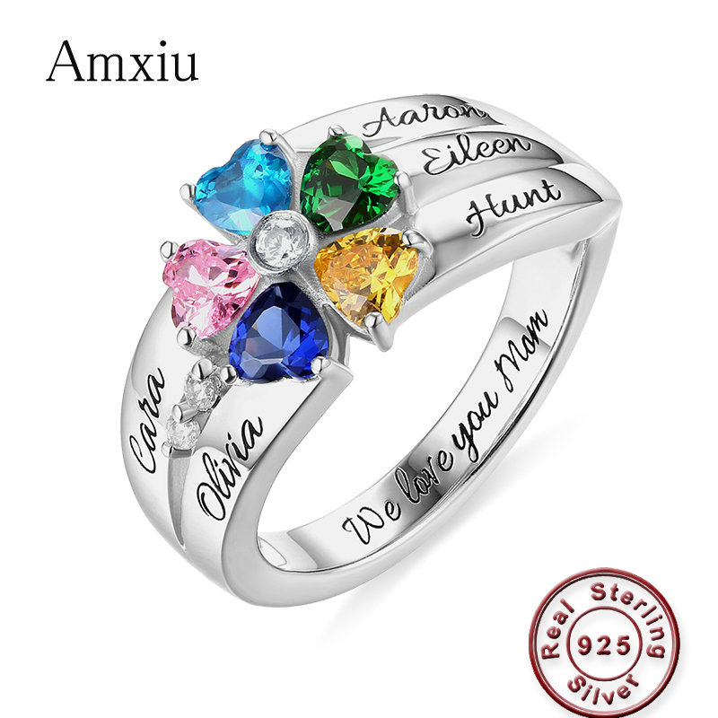 Amxiu 925 Sterling Silver Ring with Birthstones Custom Five Family Names Rings For Womens Gift Large Heart Zircon Flower RingsAmxiu 925 Sterling Silver Ring with Birthstones Custom Five Family Names Rings For Womens Gift Large Heart Zircon Flower Rings
