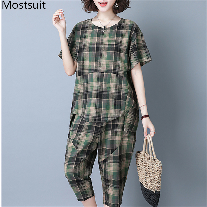 2019 Summer Plaid Cotton Linen Two Piece Sets Outfits Women Plus Size Short Sleeve Tops And Cropped Pants Casual Suits Red Green 33