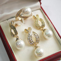 Women S Cospay Women S Hair Full Wigs 1Set AAA 12mm White Shell Pearl Pendant Necklace