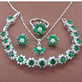 Women's Green Semi-precious Stone  925 Silver Jewelry Sets Necklace Pendant Earrings Rings Bracelet Free Shipping JQ003