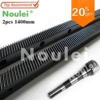 Noulei 1.25mod 2pcs 1400mm Helical Gear Rack + 1pcs Shaft Gear CNC Router Right Hand 45 Steel Oblique teeth Rack
