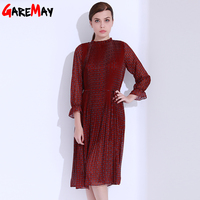 Floral Print Dresses Pleated Chiffon Dress Plus Size Women Clothing Ladies Dresses Tunics Women Robe Longue