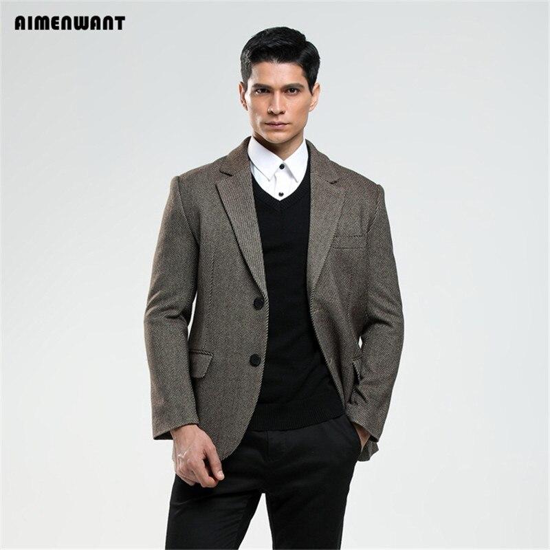 AIMENWANT 2017 costume masculin commercial slim laine blazer mâle décontracté mariage vêtements personnel personnalisé manteau grande taille grands blazers