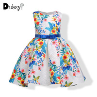 Girls Printed Princess Dress Sundress with Bow knot for Girls Party Sleeveless Dress for Girls 3 To 10 Years