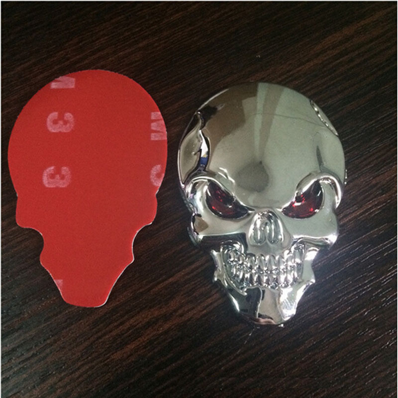 Hot Sale Skull Bone Car Motorcycle Auto Chrome Silver 3D Metal Emblem Badge Decal Sticker dragon emperor kaiser loong imperial chinese character script 3d metal diy car auto motorcycle badge emblem sticker car styling