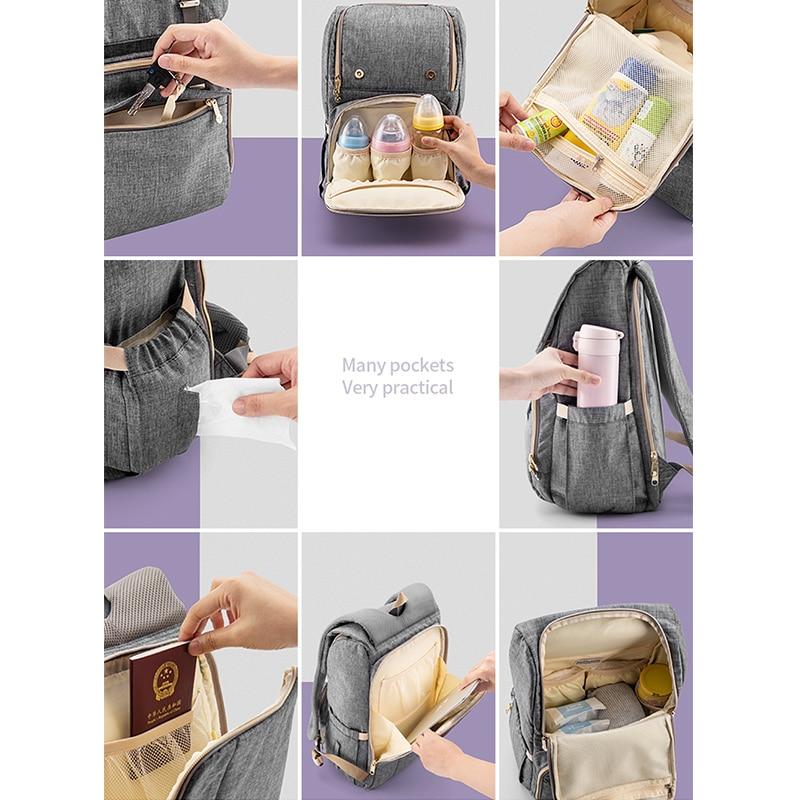 SUNVENO nouveau sac à couches mode sac à dos grande capacité bébé sac Nappy sac pour les soins de bébé - 4