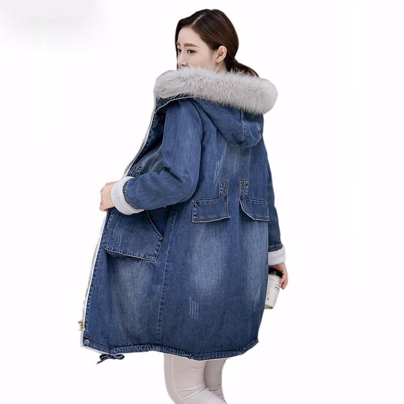 купить Brand Denim Jacket Women Faux Fur Coat Long Parka Warm Fleece Velvet Pockets Hoody Outwear Manteau Denim Coat Jeans Parka Female дешево