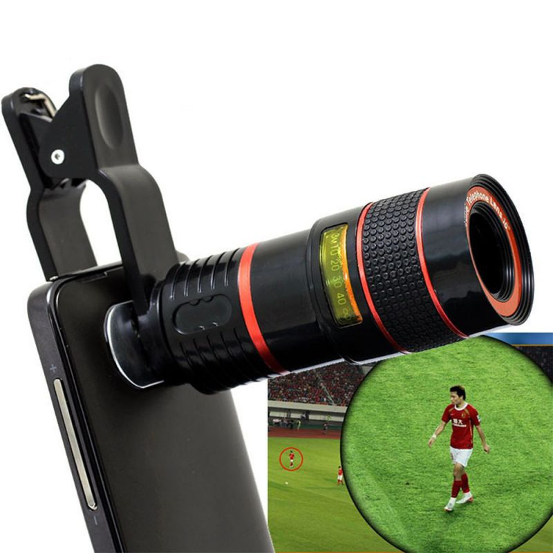 2017 Hot 8X Zoom Clip-on Telescope Camera Optical Lens For Various Cell Phone for iPhone 6 For Samsung Smart Phone Telescope