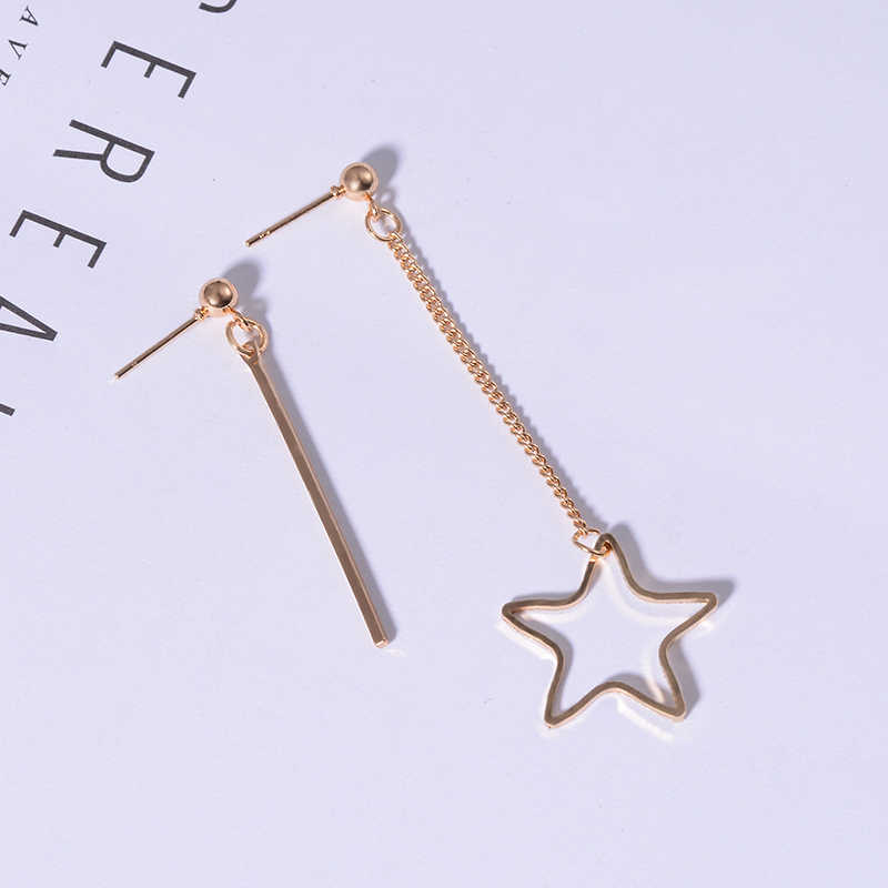 SUKI pendientes mujer moda 2018 pendientes de estrella colgante largo Piercing oreja joyería colgante gota asimétrica mujeres pendiente