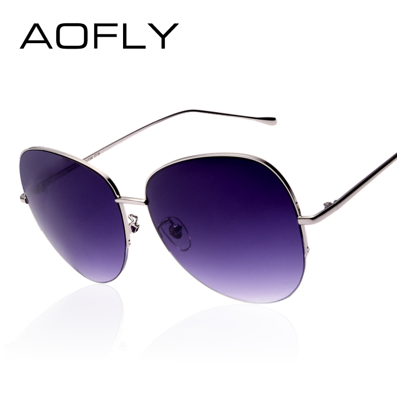 Rimless Glasses Trend : AOFLY Women Oversize Sunglasses Metal Semi-Rimless Glasses ...