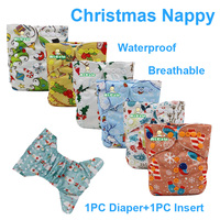 Christmas Baby Reusable Nappy For Newborn Washable Cloth Diaper For Baby Adjustable Training Pants With Microfiber